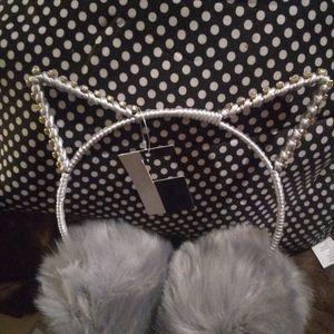 Rhinestone Cat ear Earmuffs (Gray)